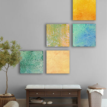 Watercolor Abstract Painting, CUSTOM 5 square (15 Inch x 15 inch) Large abstract painting, - Green, Turquoise ,Gold, yellow, Orange, blue