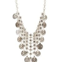 Silver Chainmail & Coin Statement Necklace by Charlotte Russe