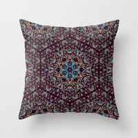 Brown and blue geometric Mandala Rich ornament by Maria So