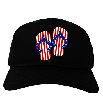 Stars and Stripes Flip Flops Adult Dark Baseball Cap Hat