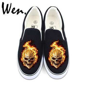 Wen Original Slip On Shoes Flaming Skull Design Black Canvas Sneakers