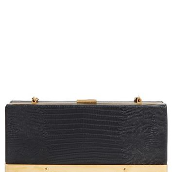 Alexander McQueen Caged Croc Embossed Leather Box Clutch | Nordstrom