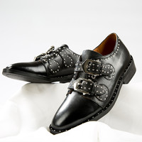 Rivet Two Belts Strap Studded Leather Buckle Shoes