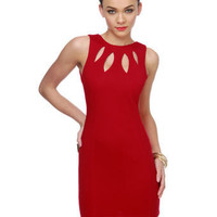 Cute Red Dress - Sheath Dress - Cutout Dress - $60.00