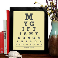 Elton John, My Gift Is My Song & This Ones For You, Eye Chart, 8 x 10 Giclee Art Print, Buy 3 Get 1 Free