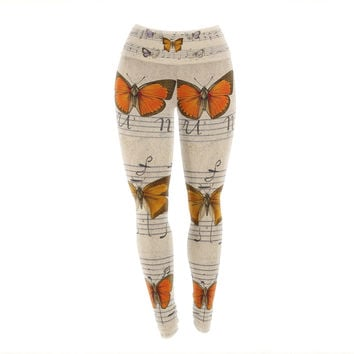 "Suzanne Carter ""Butterfly Opera"" Music Tan Yoga Leggings"