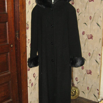 Black stylish   hooded  wool with faux fur trim swing style  long  maxi  coat by MDP