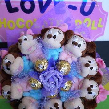 Blue & Pink Mickey Plush Dolls with Ferrero Rocher Chocolates. Perfect baby shower / wedding gift!