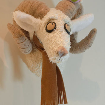 Ram wall hanging, faux taxidermy, trophy head, stuffed ram head, nursery decoration, Knitwangling, home decor