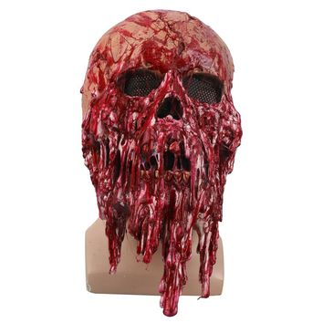 Blood Color Skull Skeleton Cosplay Mask Latex Full Head Zombie Scary Horrible Helmet Party Halloween Fancy Dress