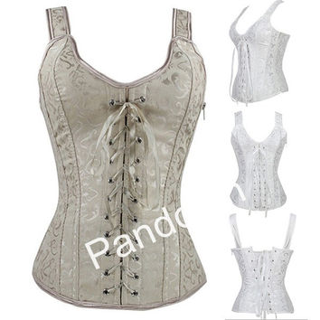 2014 New Arrival Overbust Sexy Corset Fashion Comfortable Steel Boned Bustier Perfect Body Shaper  2 Colors 5 Sizes = 1929625604