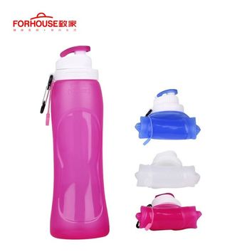 500ML Foldable Silicone Water Bottle Kettle BPA Free Sport Outdoor Travel Running Hiking Creative Collapsible Drinking Bottle