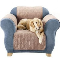 Sure Fit Quilted Pet Throw  - Chair Slipcover  - Taupe (SF37468)