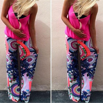 New Women's Fashion Floral Print Harem Pants Loose Elastic Waist Trousers Casual Pants