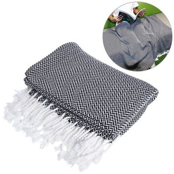 WINOMO Lightweight Thin Throw Safa Blanket Woven Cotton Thread Safa Towel Reversible with Tassels for Couch Chair Sofa
