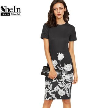 SheIn Elegant Dresses For Women Summer Ladies Black and White Crew Neck Short Sleeve Floral Knee Length Pencil Dress