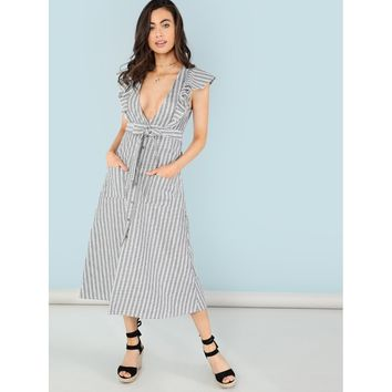 Plunging Neck Ruffle Trim Button Up Dress