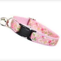 "Cat Collar - ""Bella"" - Pink Floral Cottage Rose Pattern"