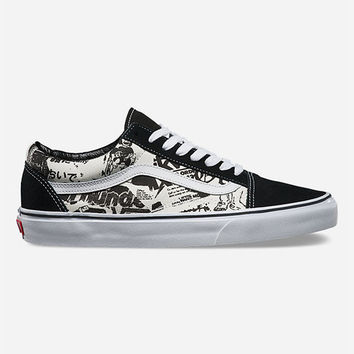 Vans Newsprint Old Skool Shoes Black/White  In Sizes