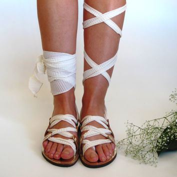 "Gold Leather Sandals, Unique design, with ivory scarf straps. Ideal bridal shoes  ""APHRODITE"" AS22"