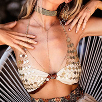 Hot Comfortable Bralette Accessory Stylish Summer Sexy Hollow Out Body Strong Character Metal Chain Bra [10920824655]