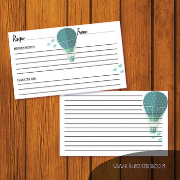Wedding Recipe Card / Recipe Card / Bridal Shower Recipe Card / Hot Air Balloon Recipe Card / Instant Download / 3x5 Recipe