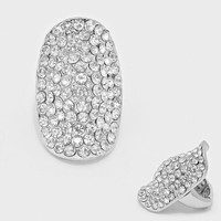 """Glamour"" Clear Crystal Rhinestone Pave Stretch Cocktail Ring On Silver Tone"