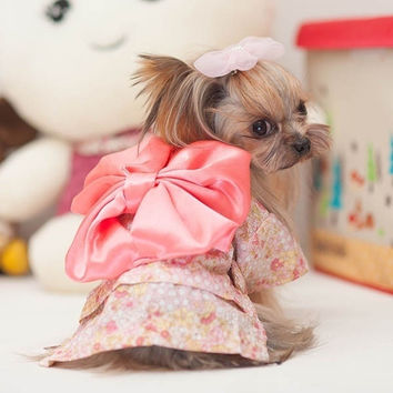 Trendy Small Pet Dog Floral Bow Dress Clothes Puppy Cat Princess DressCostume = 1929934404