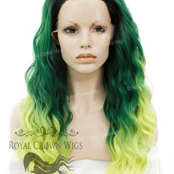 """24 inch Heat Safe Synthetic Lace Front """"Ada"""" with Wavy Texture in Green to Yellow Ombre"""