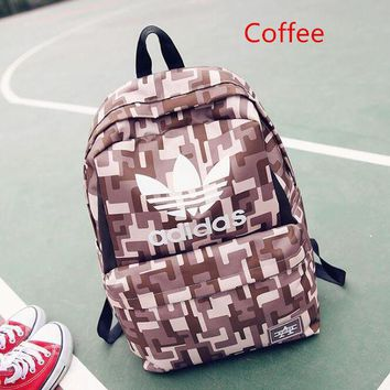 """Adidas"" Sport Travel Backpack College School Bag Laptop Bag Bookbag Coffee geometric"