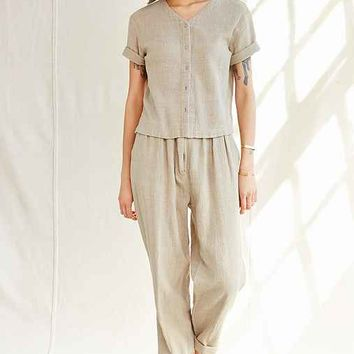 Vintage Boxy Cotton Shirt And Pant Set- Assorted One
