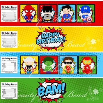 Superheroes Bottle Water Labels The Avengers Party Wrappers Baby Shower Birthday Party Decorations Kids Party Supplies