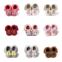 0-18M Newborn Infant Baby Crib Shoes Soft Sole Suede Leather Shoes Prewalkers US