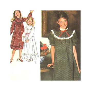 Simplicity 8807 Uncut Pattern Uncut Girl's Dress or Gown with Ruffles 1978 Size 7 and 8