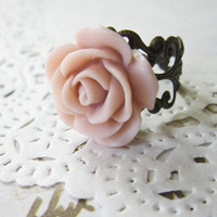 Pink Flower Cameo Ring - Filigree  rose Cabochon