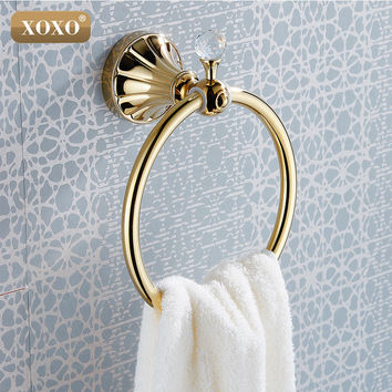Luxury Crystal & Brass Gold Towel RingTowel Holder Towel Bar Bathroom Accessories Shipping 16080G
