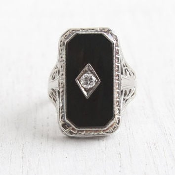 Best Vintage Black yx Ring With Diamond Products on Wanelo
