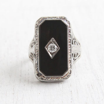 Antique 10K White Gold Black Onyx Stone & Diamond Ring - Vintage Statement 1920s Size 6 1/2 Art Deco Fine Jewelry