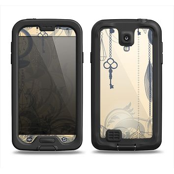 The Vintage Hanging Clocks and Keys Samsung Galaxy S4 LifeProof Fre Case Skin Set