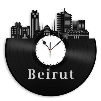 Beirut Skyline, Lebanon Wall Deco Clock, Travel Gift Ideas, Collection Ideas For Office, Bedroom, Living Room, Reflective, Groovy Vinyl