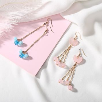 Lovely Long Chain Drop Dangle Earrings for Girls Lover Pink Heart Shape Shell Glass Beads Women Fashion Blue Crystal Ear Jewelry