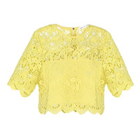 Casual Yellow Floral Lace Embroidered Blouse