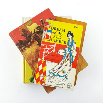 Set of 4 Red & Yellow Books / Instant Collection / Vintage Color Coded, Coordinating Novels / Decor / Ephemera / Hardcover, Paperback