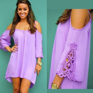 Women Fashion Off Shoulder Dress Summer Sexy Purple Loose Lace Hollow Dresses