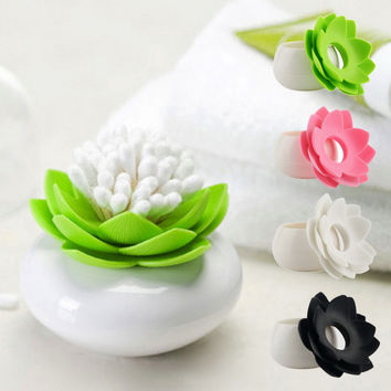 Hot New Lotus Cotton swab box lotus cotton bud holder base room decorate Lotus Toothpicks holder Toothpick case High Quality