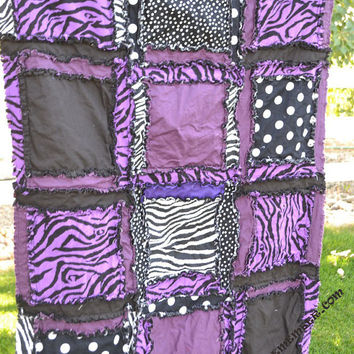 RAG QUILT, Purple, Black, Zebra, Baby Girl Blanket, Made to order