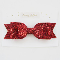 Girl and adult Oversized red glitter fabric bow hair clip - so Sparkly!!!