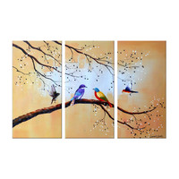 Birds of Colorful Feathers Landscape Canvas Wall Art Oil Painting