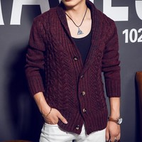 Men's 2015 autumn and winter sweater knit cardigan sweater Korean version of the lapel thick sweater coat sweater men Men