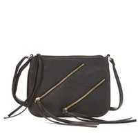 Black Double Zipper Cross-Body Purse by Charlotte Russe